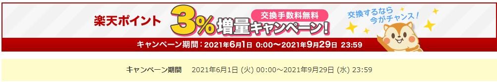 モッピーの楽天ポイント3%増量キャンペーン(21年7月まで)