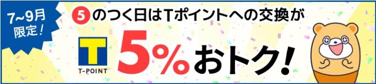 ポイントタウンの5のつく日Tポイント5%増量キャンペーン